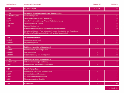 Studienplan des Masterstudiengangs Technologie-Management
