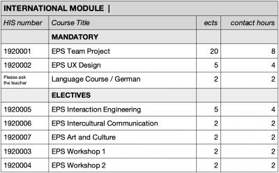 EPS course structure at UAS Augsburg